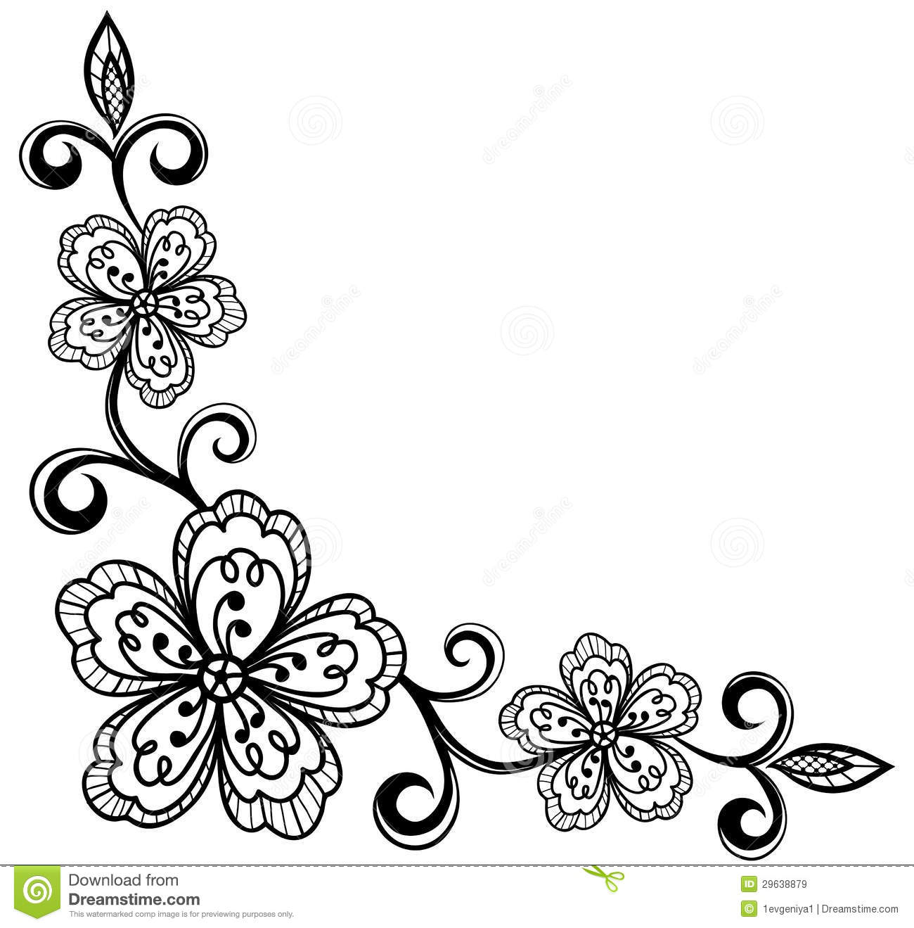 Monochrome black and white lace flower in the corner with space for corner ornamental lace flowers black and white stock illustration mightylinksfo