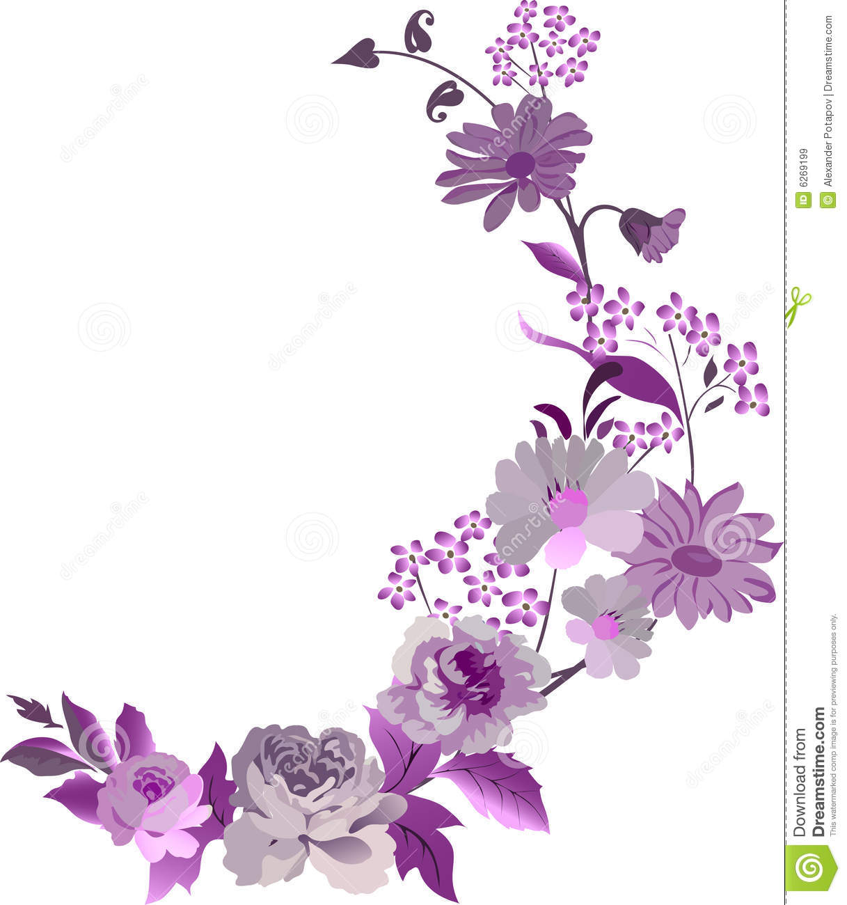 Corner with pink flowers stock illustration image of for Decoraciones para hojas