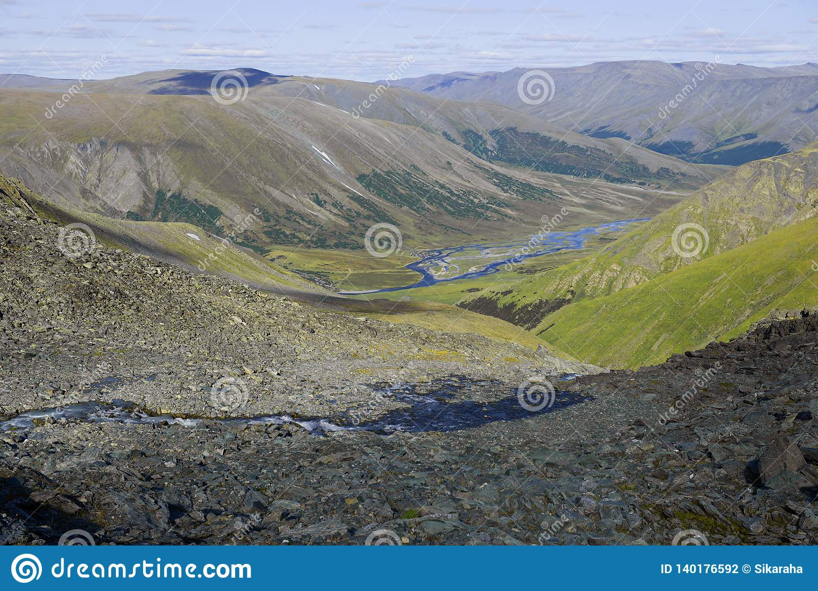 Corner of the Polar Urals. View of the valley of the Hadata river. Yamal, Russia