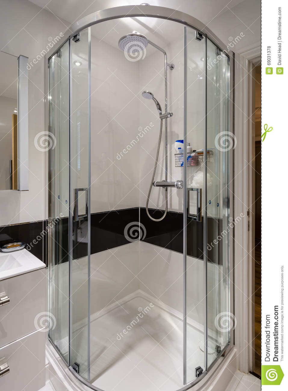 Corner Shower Cubicle stock photo. Image of indoors, cabin - 69031378