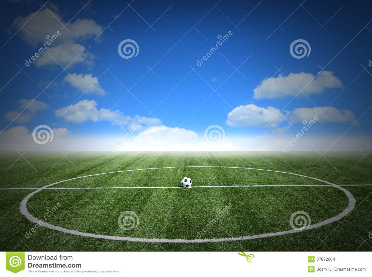 Soccer Football On Green Field With Blue Sky Background: Corner Soccer Green Grass Field With Blue Sky Stock Images