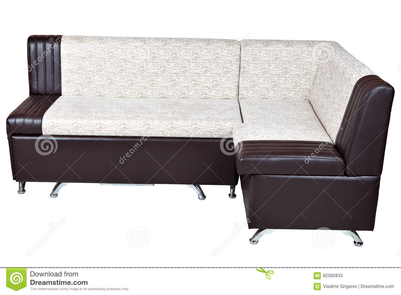 Corner Sofa Bed In Artificial Skin, Furniture For Kitchen, Isolated ...