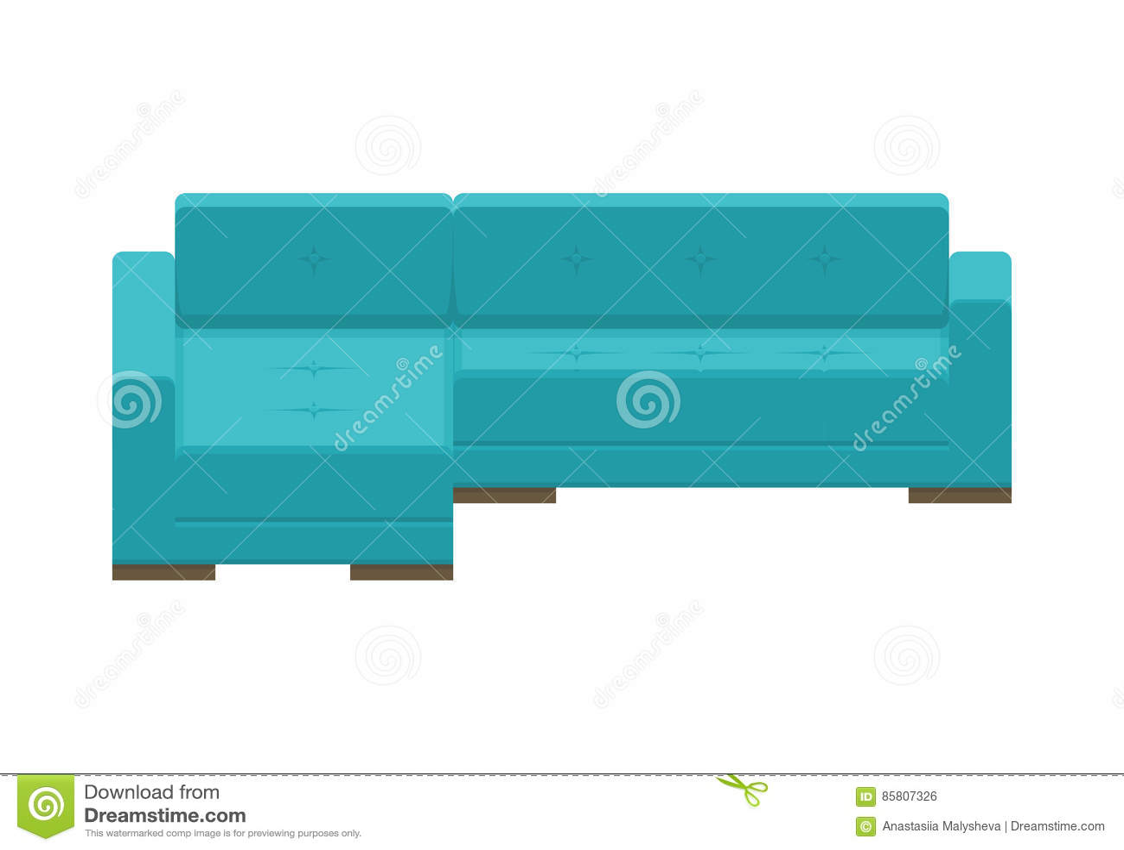 Corner Sofa Blue Modern Couch Stock Vector Illustration Of