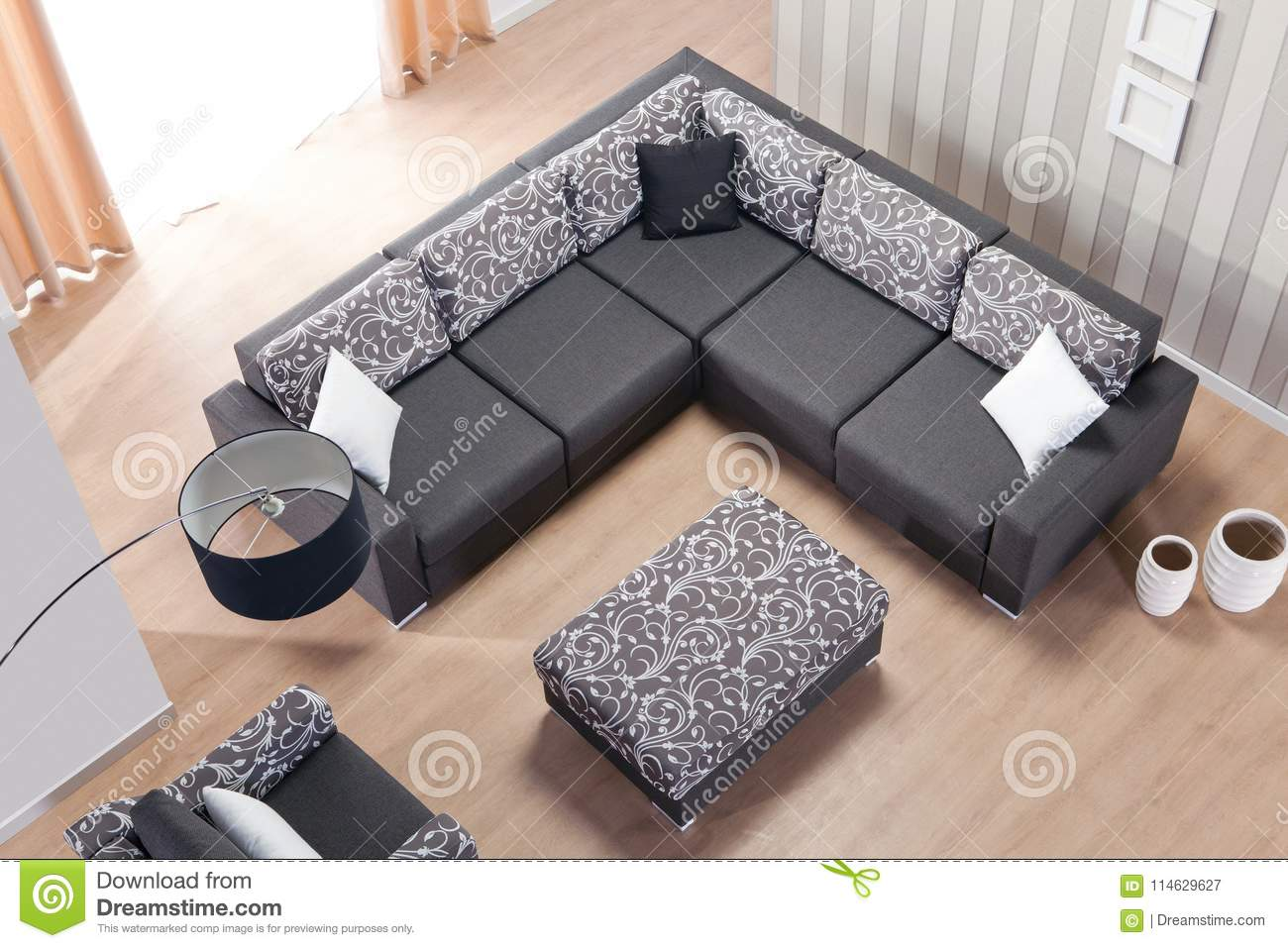 Corner Sofa For Home Top View Stock Image Image Of Building Decoration 114629627
