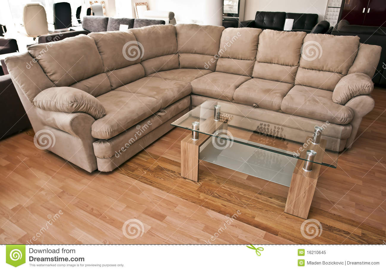 Corner sofa with table stock image image of modern for Sofas grandes modernos