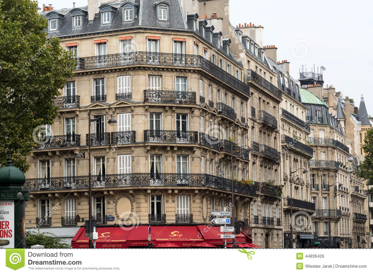 Corner of of typical house with balcony in saint germsain district paris editorial photo - The house on the corner contemporary paris ...