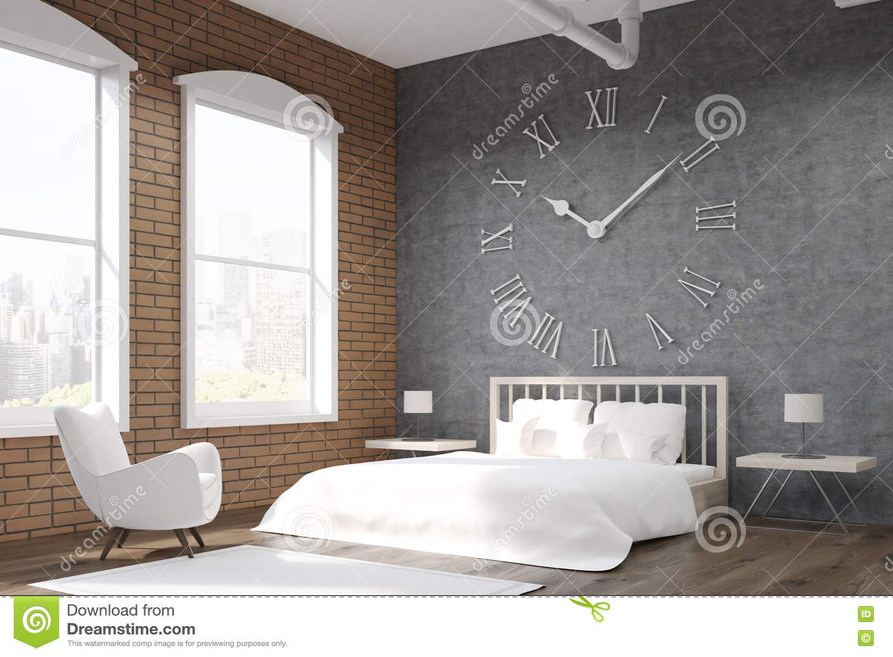 corner view of bedroom with large clock and armchair royalty