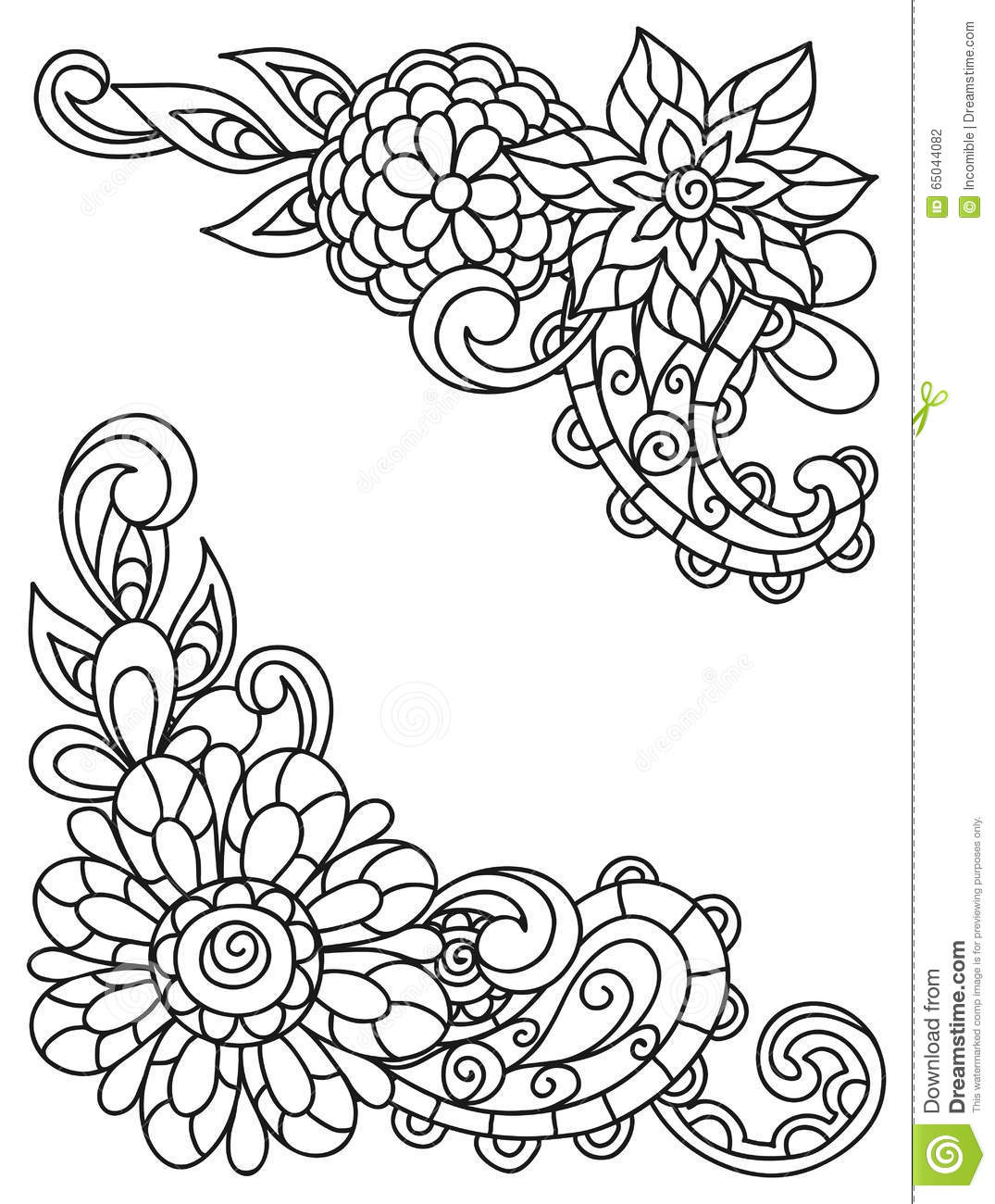 Line Art Flower Corner : Corner vignettes with line flowers for adult stock vector