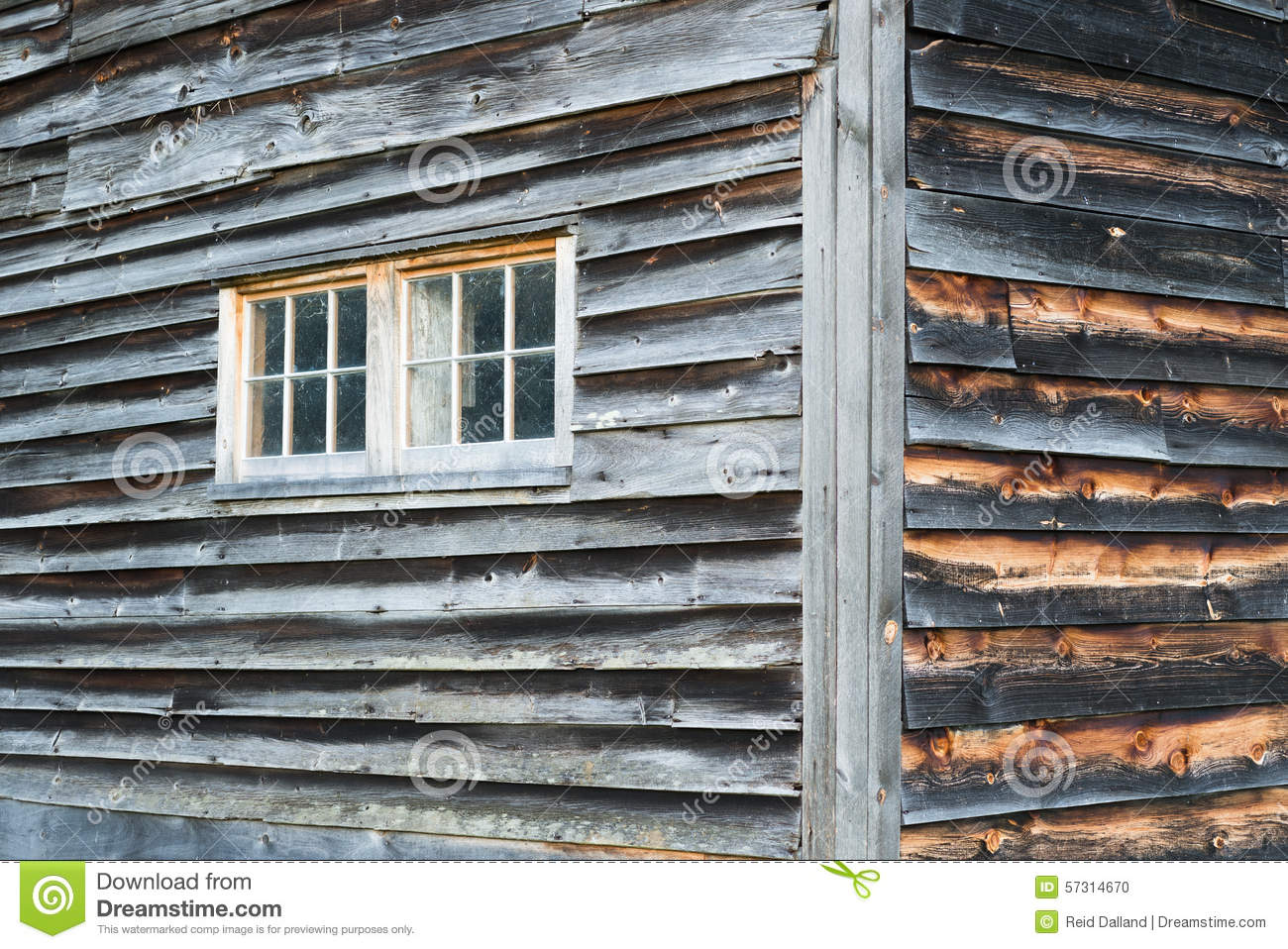 Weathered Barn Wood : ... : Corner of Weathered Barn Wall with Windows and Rustic Wood Siding