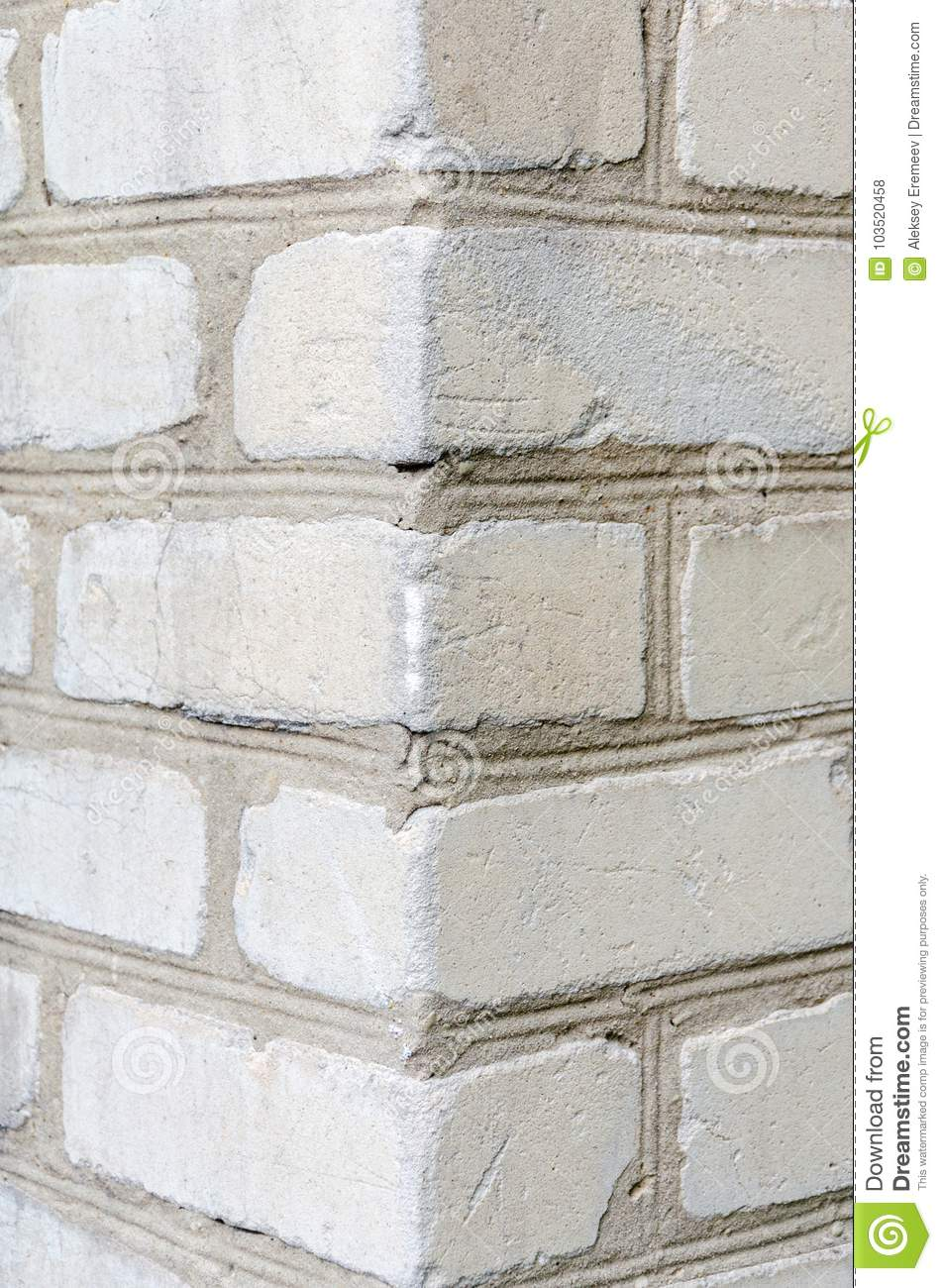 Corner Of A White Brick Wall Stock Photo - Image of gray, house ...