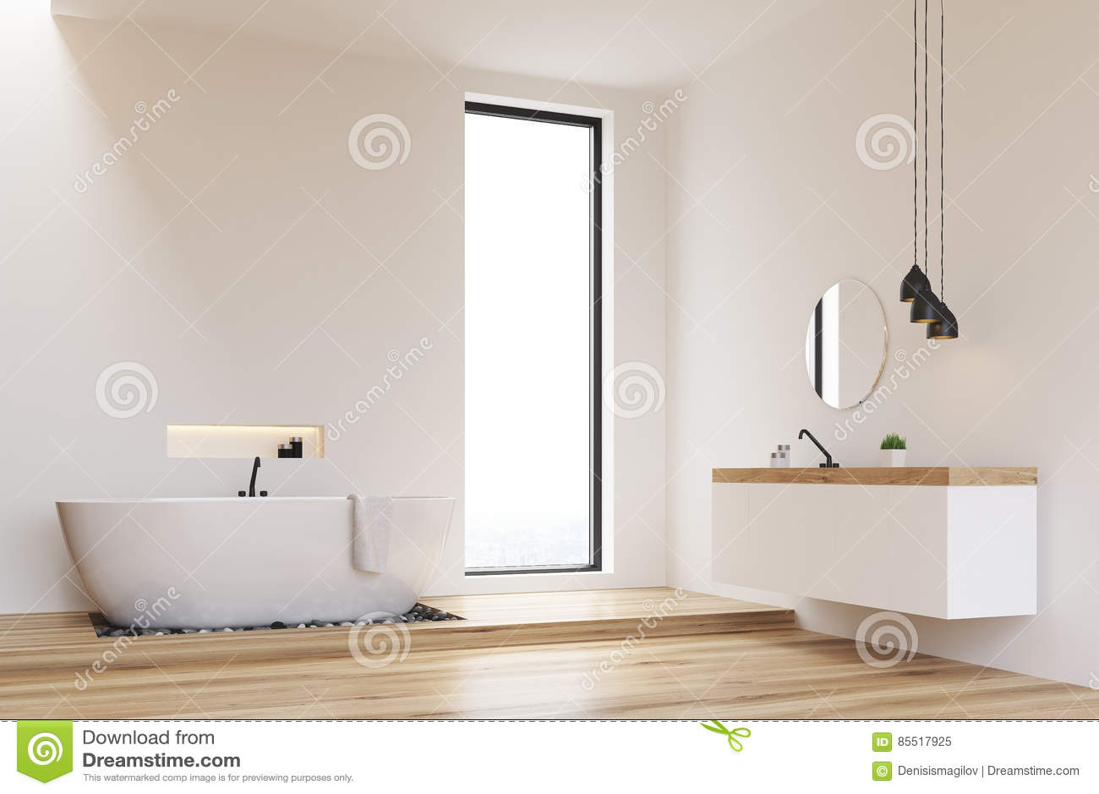 Corner Of A White Walls Bathroom Stock Illustration