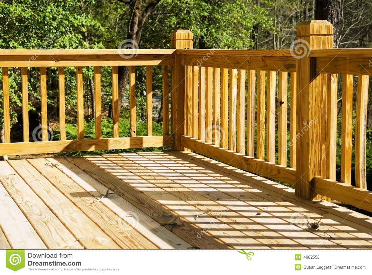 Corner of a wood deck