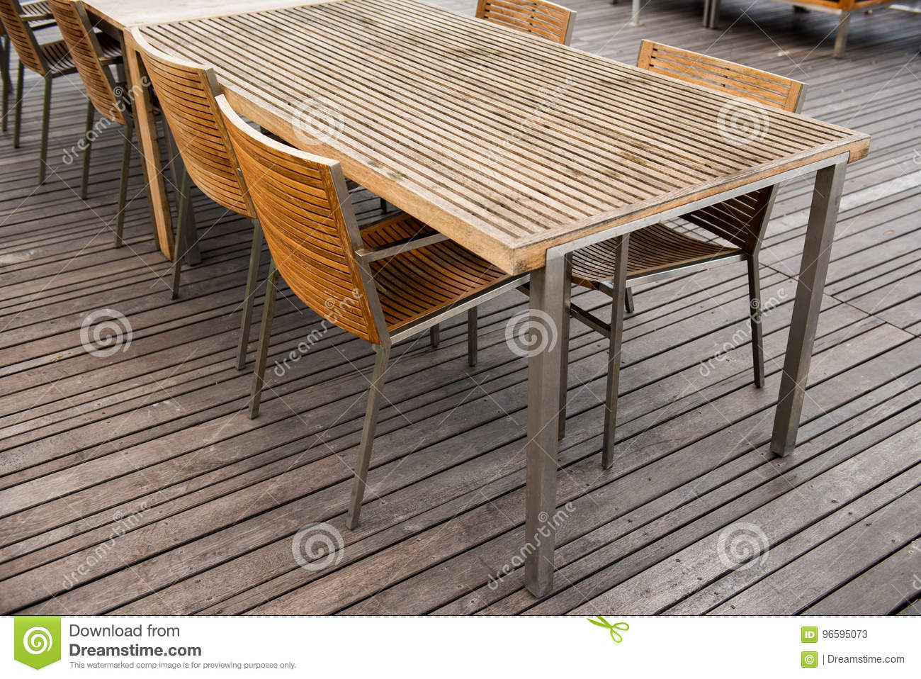 Corner of wood table and chair set. Furniture design