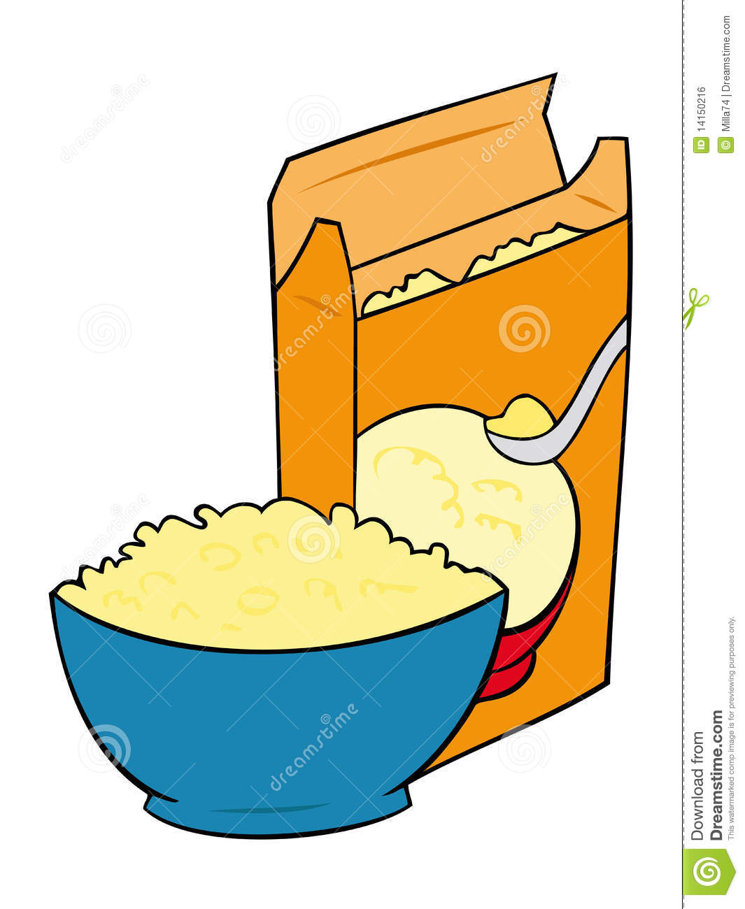Cornflakes In A Bowl With Cereal Box Stock Vector Illustration