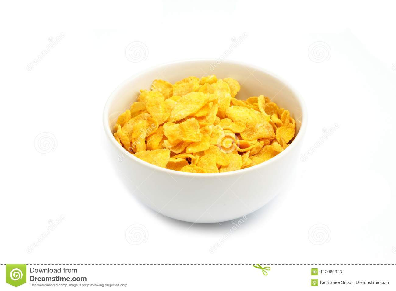 Cornflakes or cereal on white background