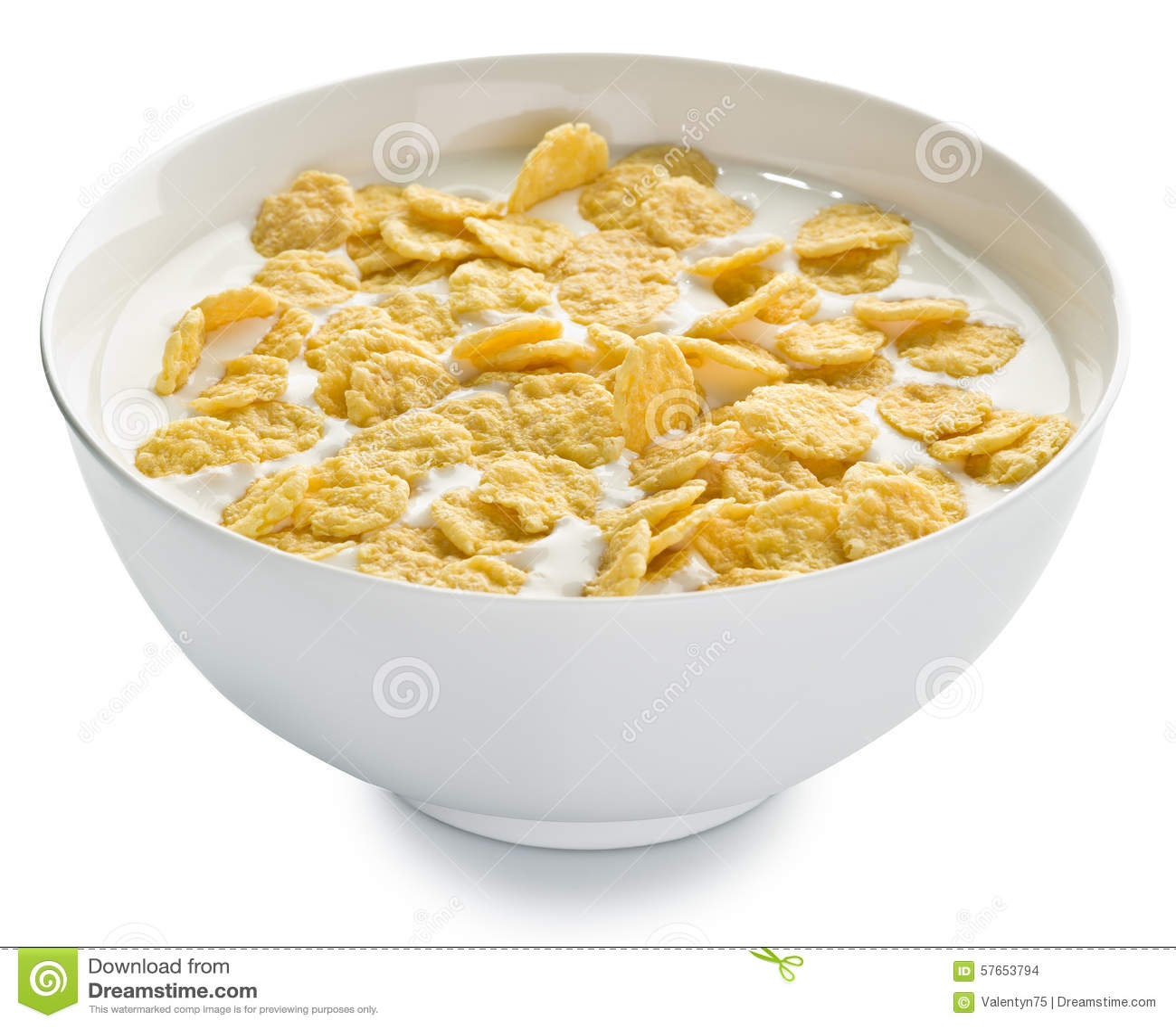 Cornflakes w pucharze na białym tle