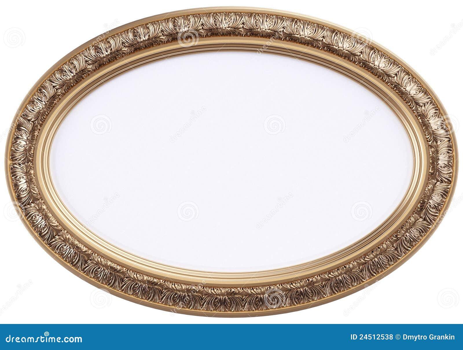 Cornice o specchio dorata ovale isolato su wh - Specchio antico ovale ...