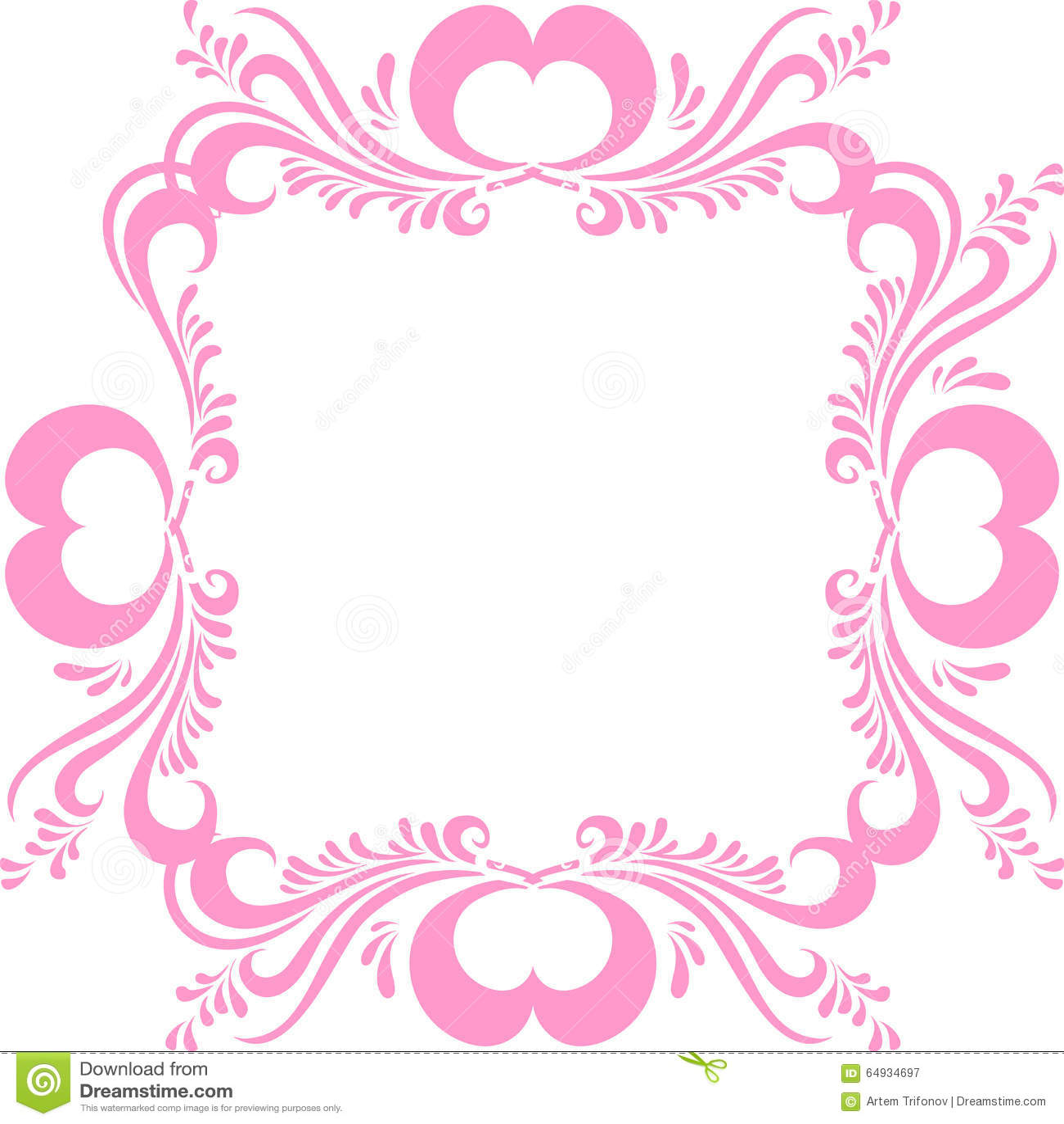 Cornice rosa stilizzata con il modello decorato e cuori for Disegni da colorare con cuori
