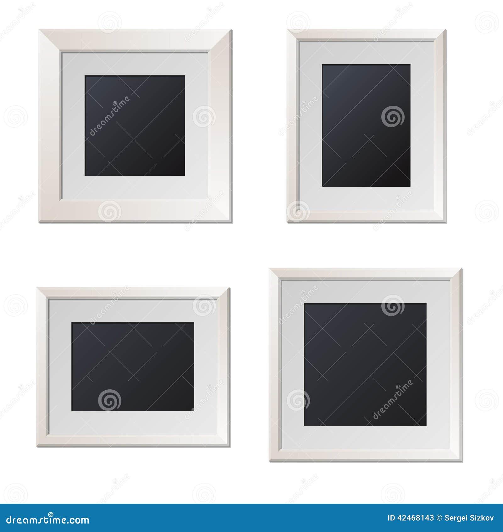 Cornici bianche realistiche con il centro in bianco for Cornici foto bianche