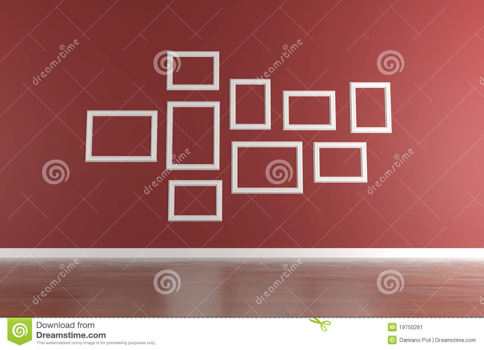 Cornici bianche sulla parete rossa illustrazione di stock for Cornici foto bianche