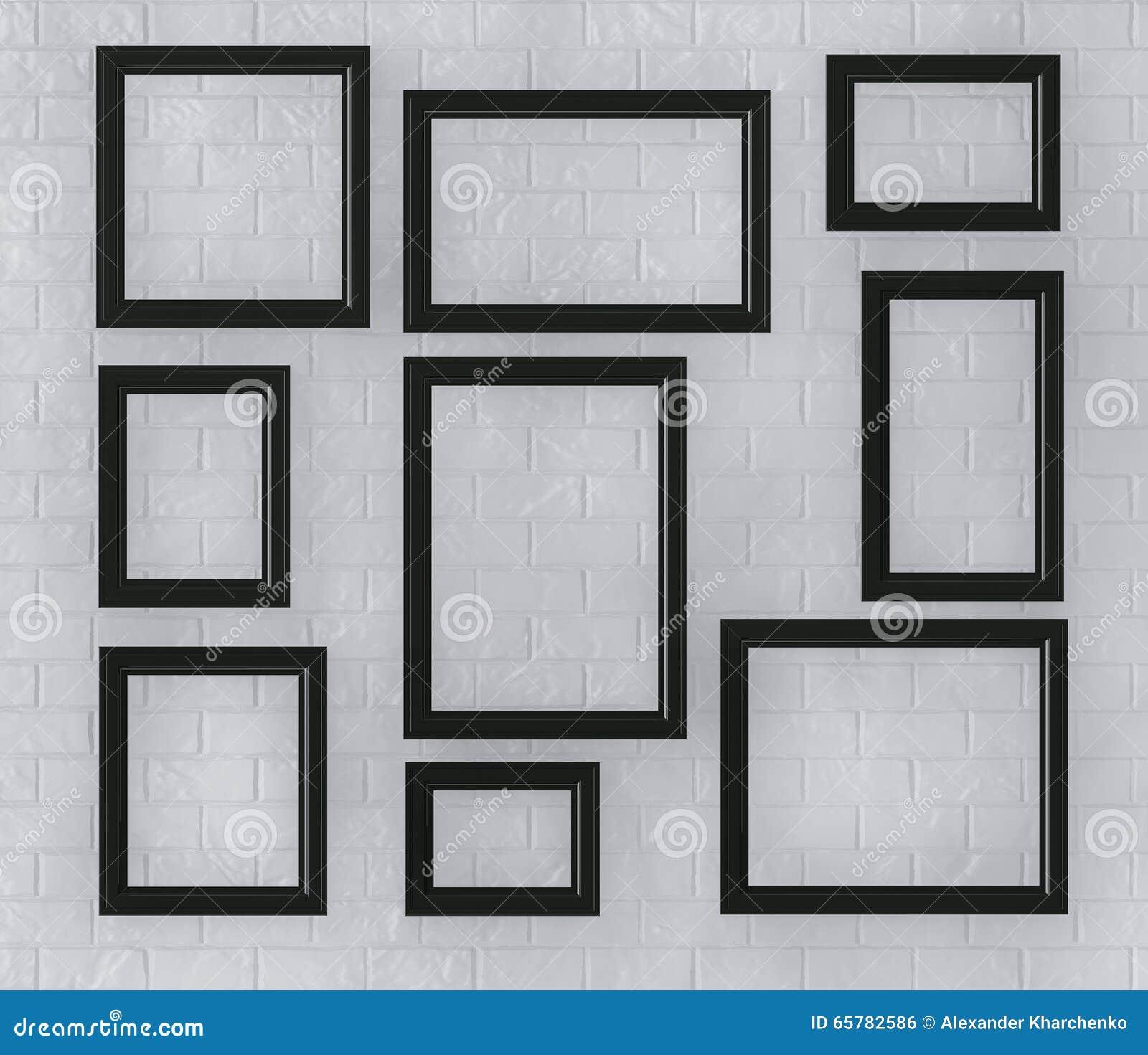 cornici nere su un muro di mattoni fotografia stock