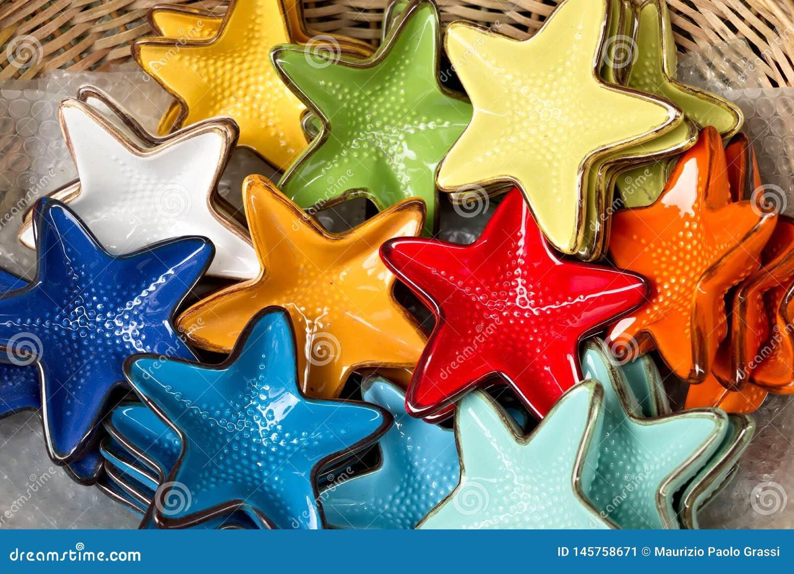 Corniglia, Cinque Terre. Handmade ceramic decorations representing colored sea stars