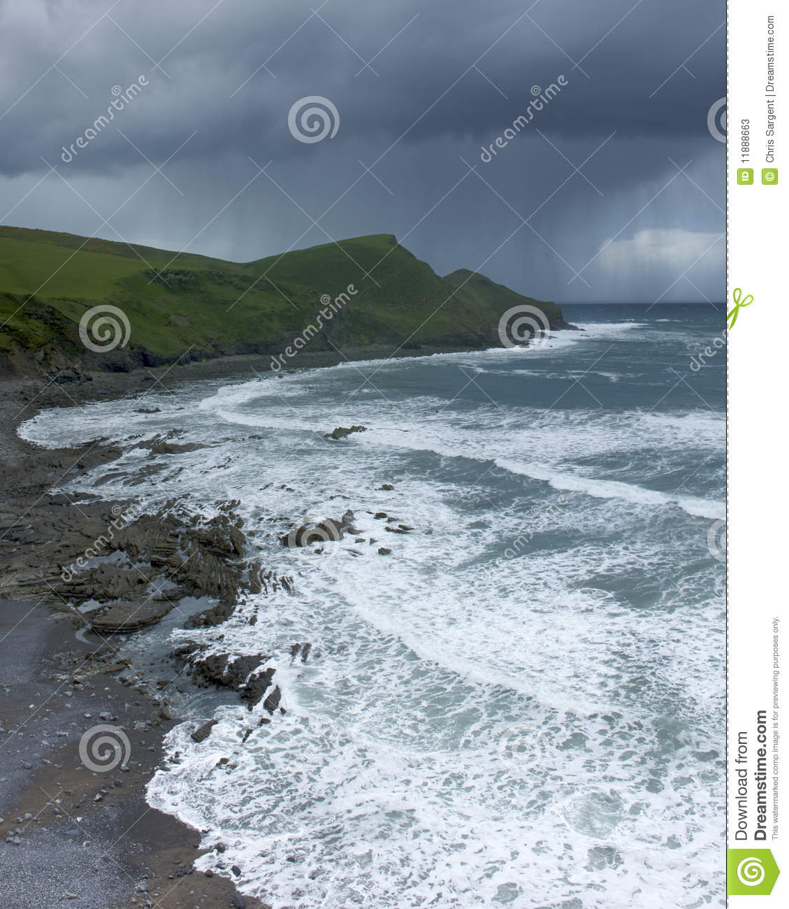 Cornish coastline and storm