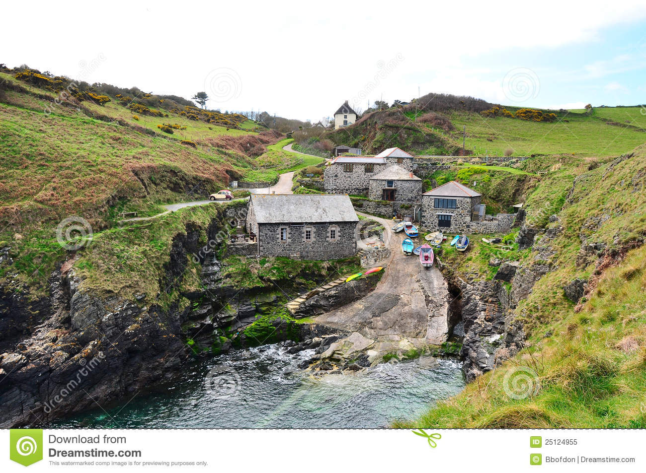Cornish Fishing Village Royalty Free Stock Photo - Image: 25124955