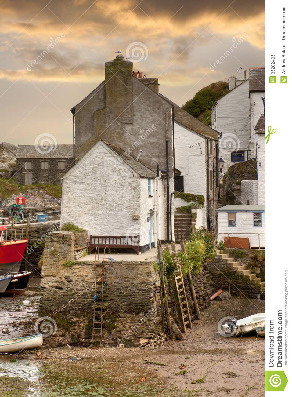 cornish harbour  england royalty free stock photo