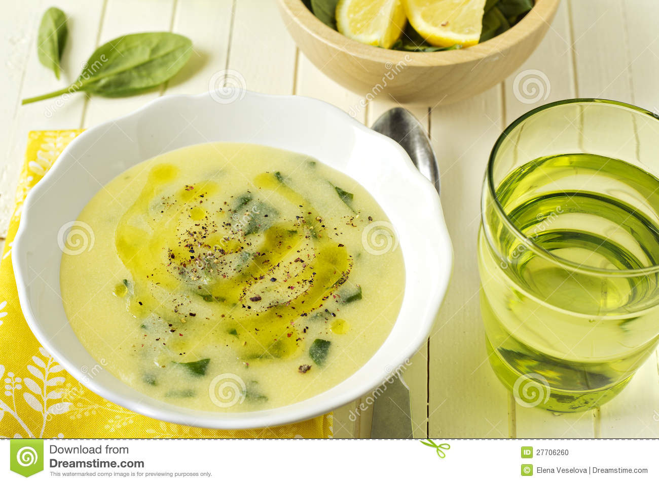Cornmeal Spinach Cream Soup Stock Photo - Image: 27706260