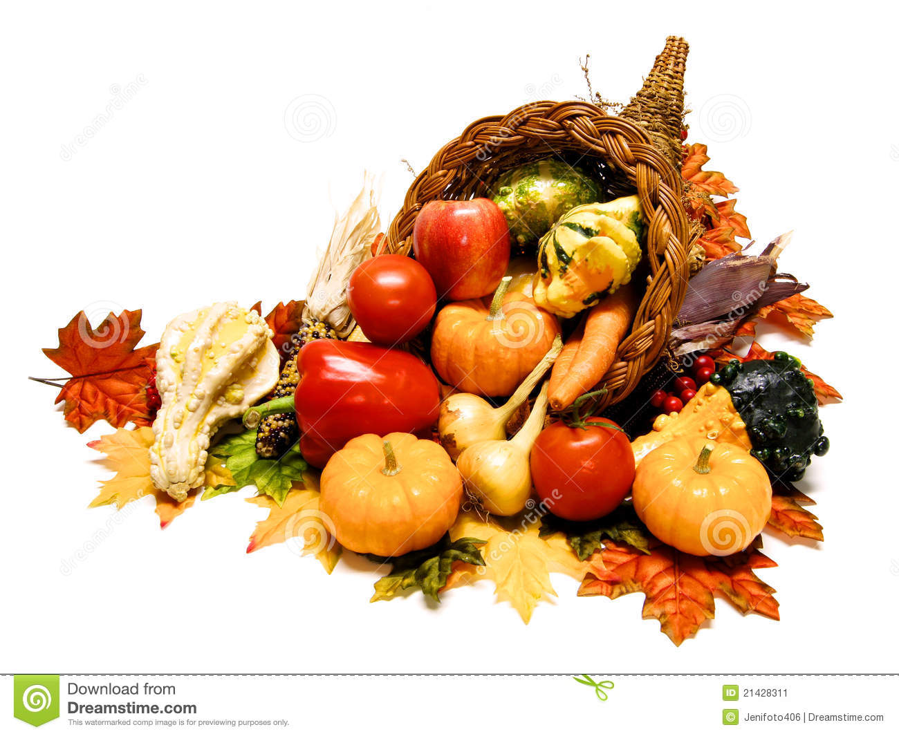Harvest or Thanksgiving cornucopia filled with wide selection of ...