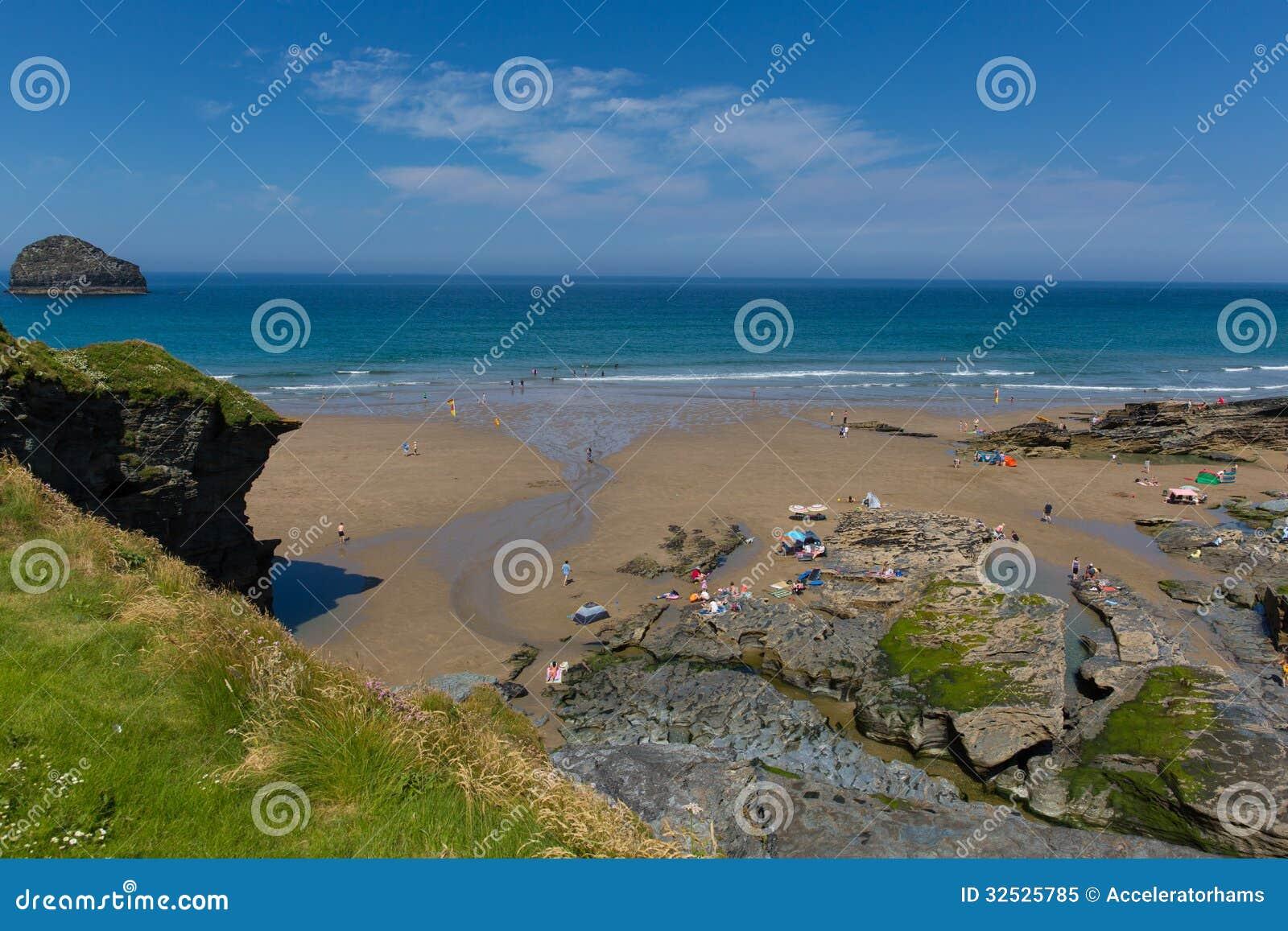Cornwall Juli för Trebarwith trådstrand heatwave