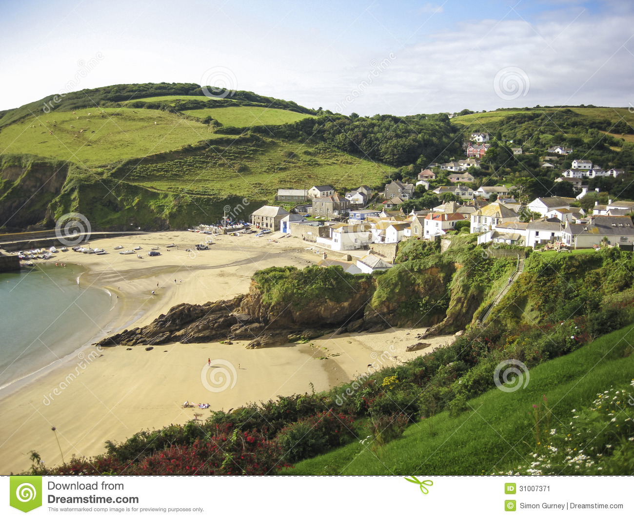 Cornwall Small Village And Sandy Beach Uk Stock Image
