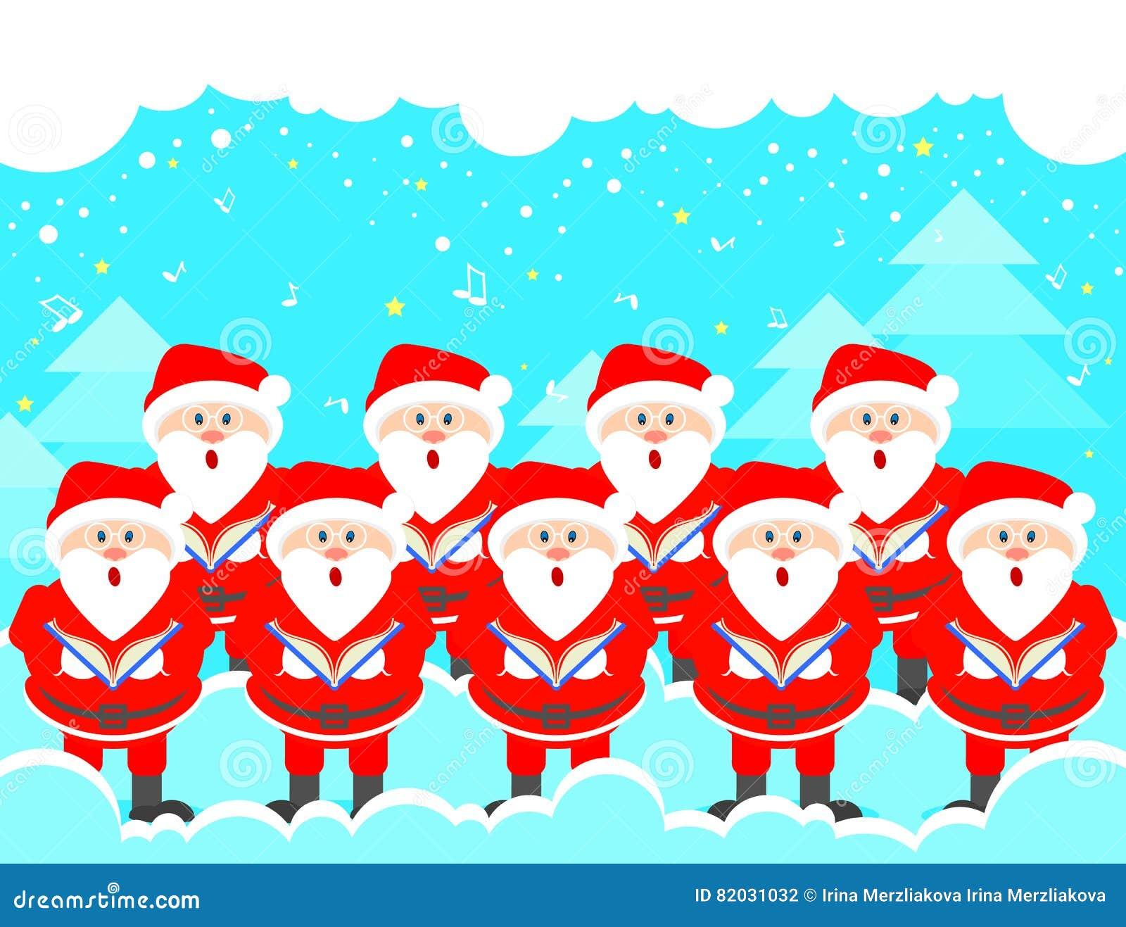 Coro Di Natale.Coro Di Natale Della Cartolina Del Greetin Di Musica Di Santa Claus Christmas Illustrazione Di Stock Illustrazione Di Grafico Musica 82031032