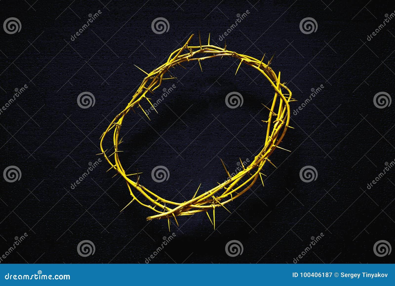 Coroa de espinhos amarela em um fundo preto, vista superior