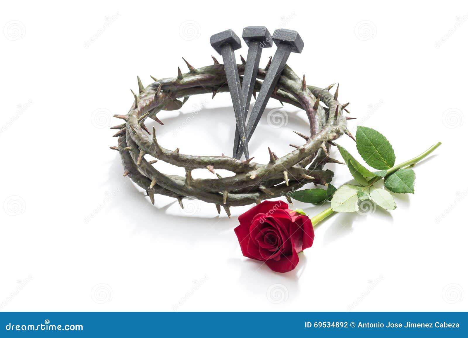 Coroa de Jesus Christ de espinhos, de pregos e de uma rosa