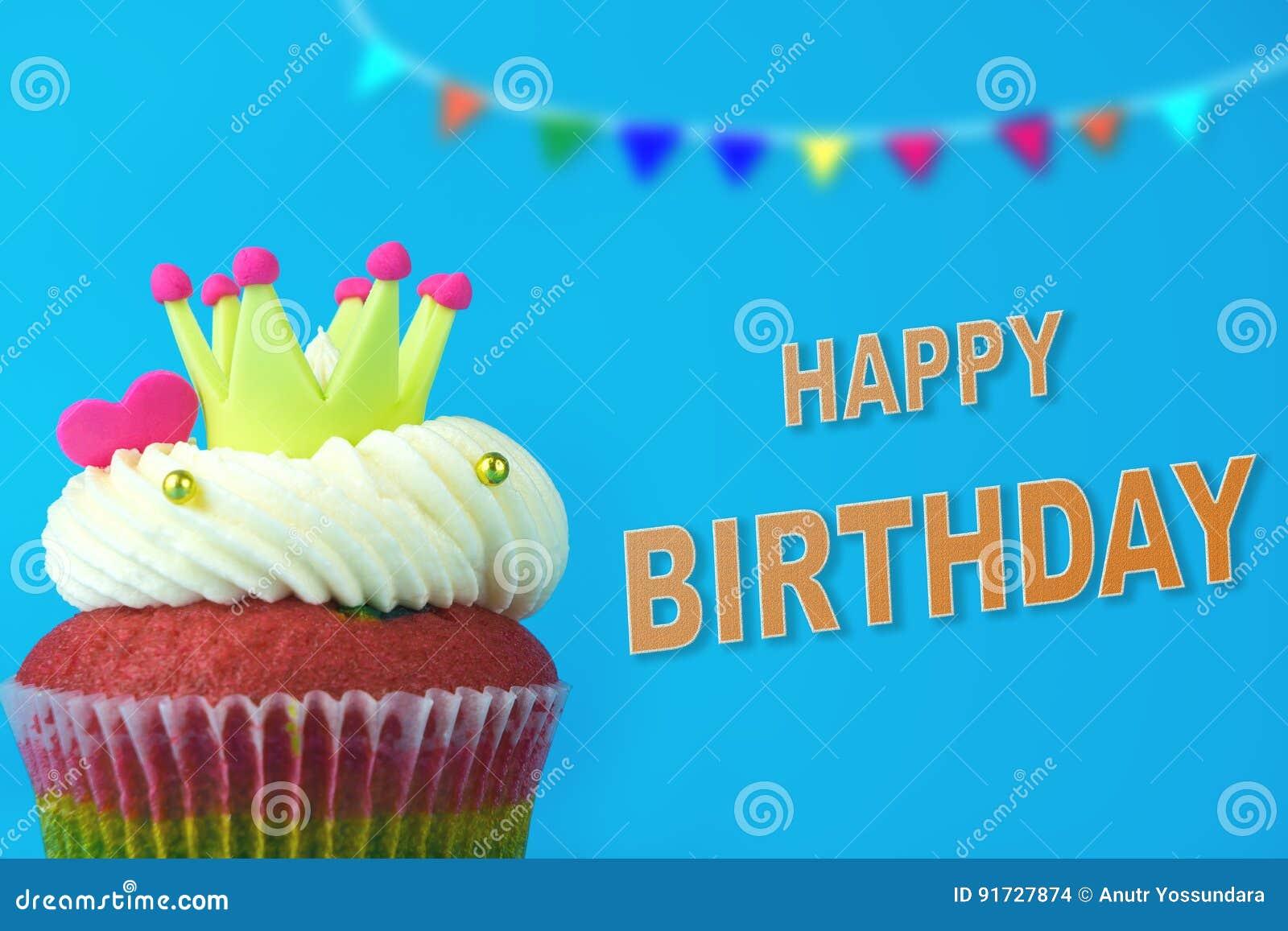 Coroa do rei Cupcake no feliz aniversario azul