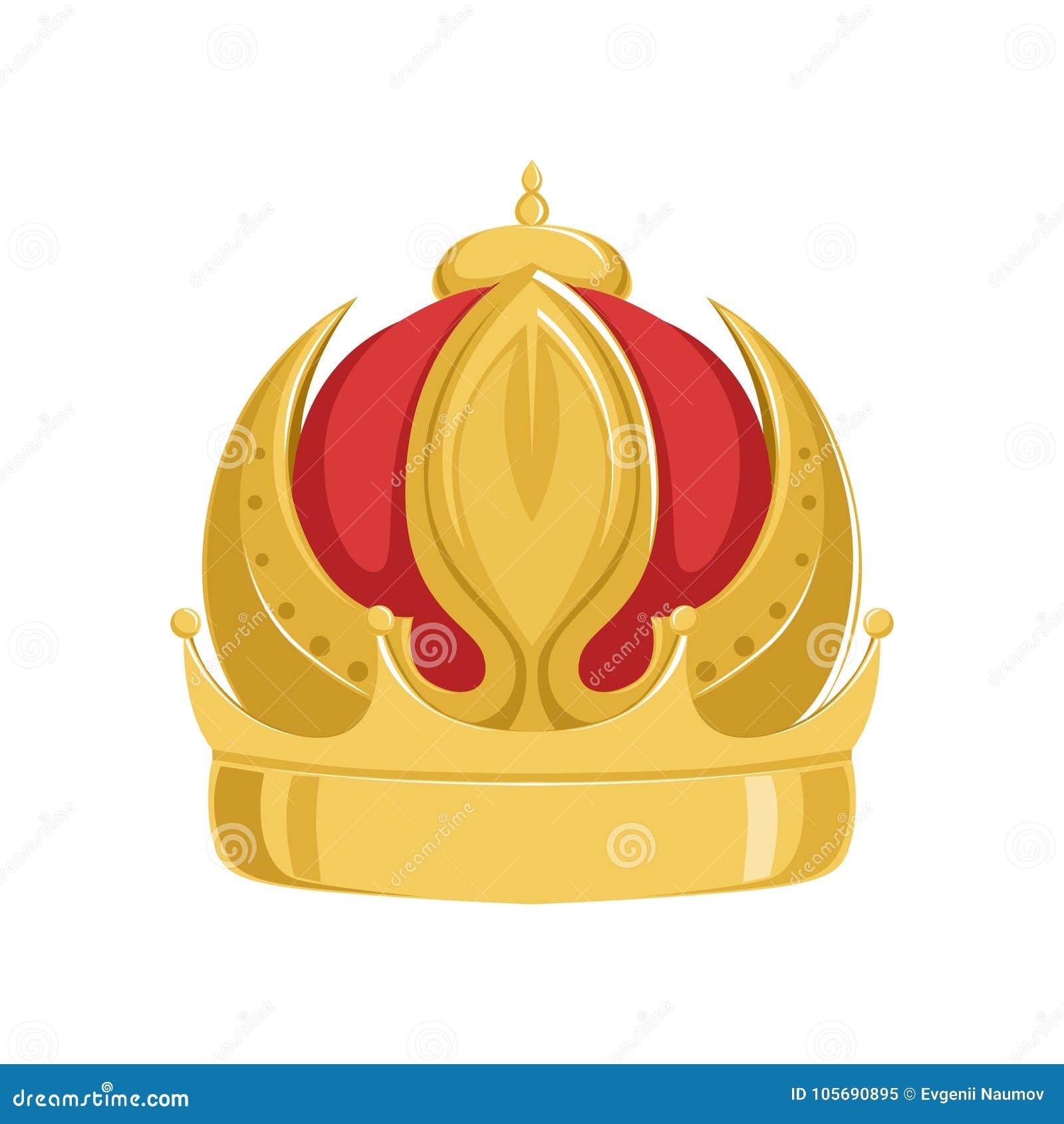 Corona antigua del emperador de oro con terciopelo rojo, ejemplo imperial heráldico clásico del vector de la muestra