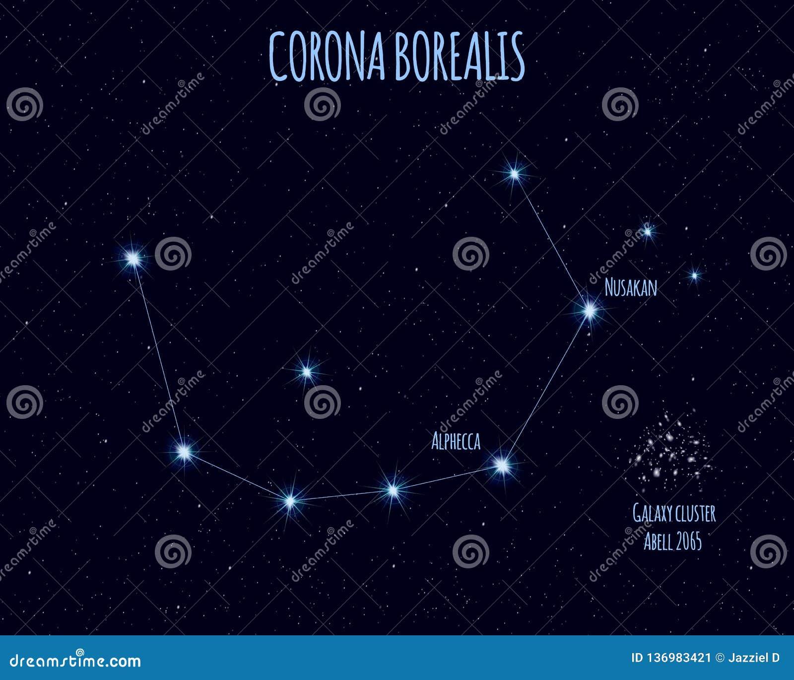 Corona Borealis Constellation Vector Illustration With The Names Of Basic Stars Stock Vector Illustration Of Glitter Cosmic 136983421