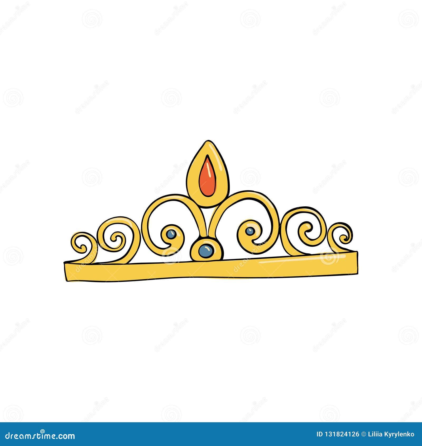 Corona con las gemas y los diamantes para la princesa o la reina Un símbolo de la autoridad Casco del rey Icono que denota éxito