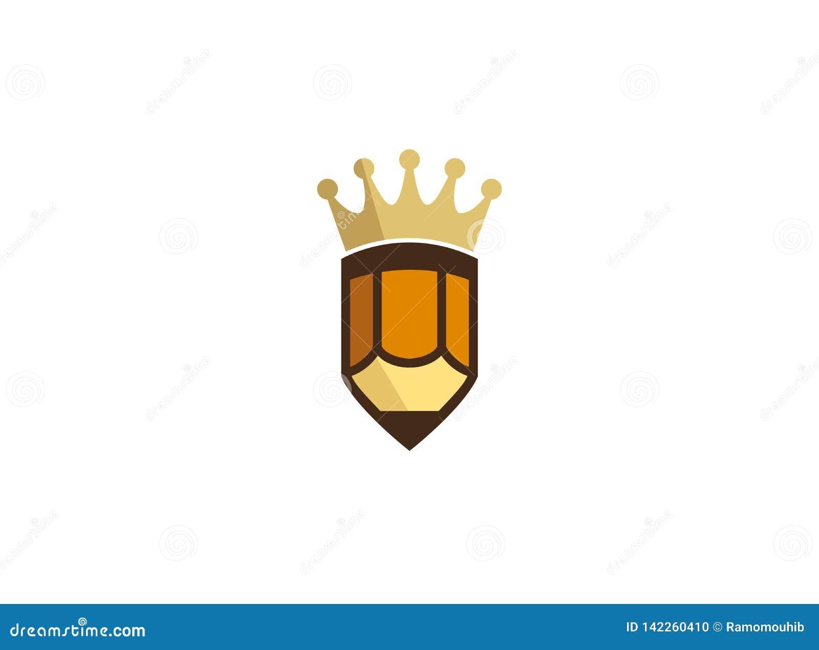 Corona de oro en un pequeño logotipo de la pluma