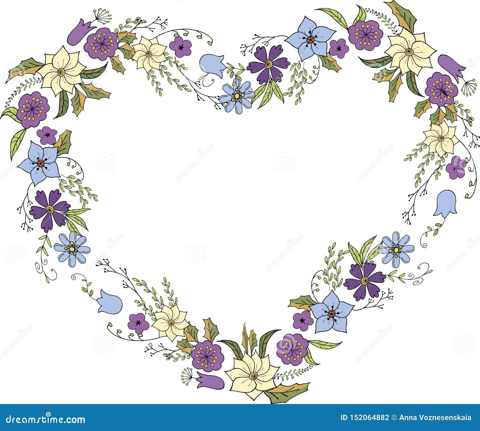 Corona dei fiori nello stile di scarabocchio sotto forma di cuore Struttura del fiore nel vettore su fondo bianco