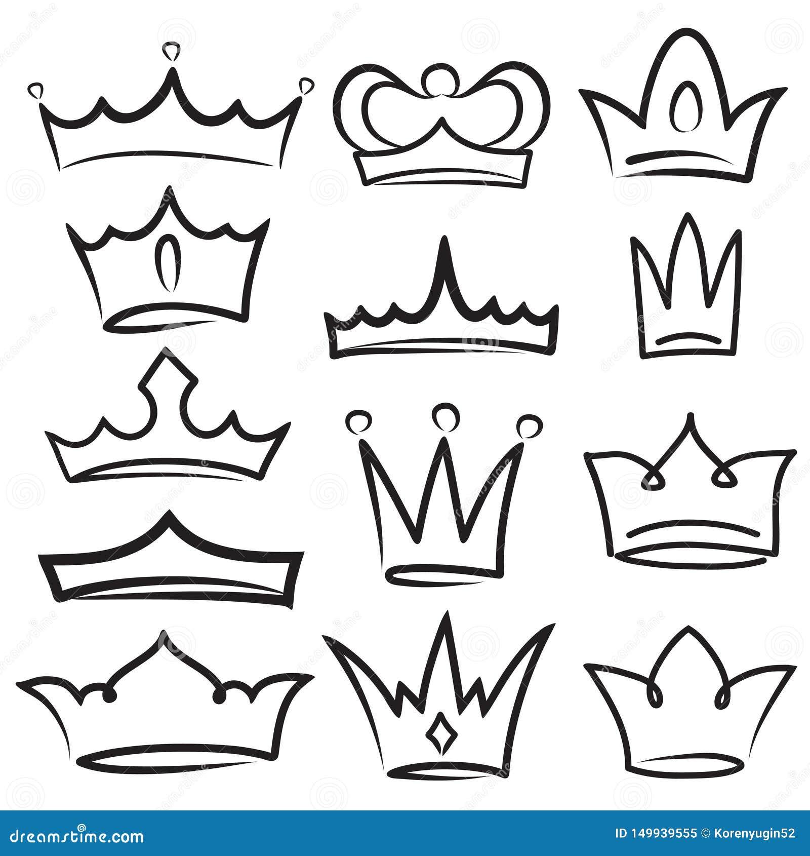 Corona del bosquejo La coronaci?n simple de la pintada, la reina elegante o las coronas del rey dan dibujado Símbolos imperiales