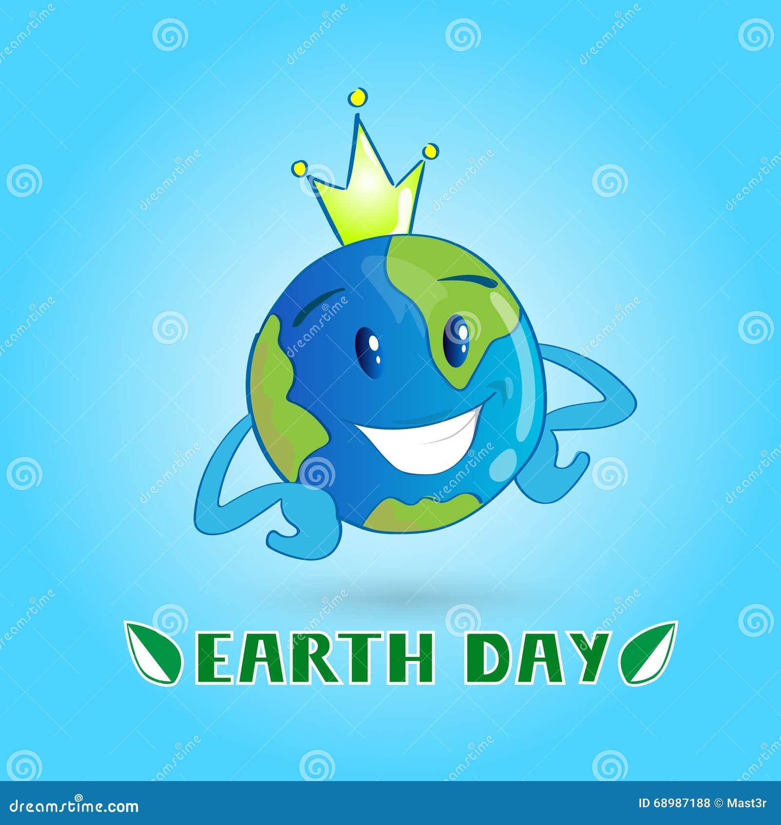 Corona del desgaste del globo del personaje de dibujos animados del mundo del Día de la Tierra