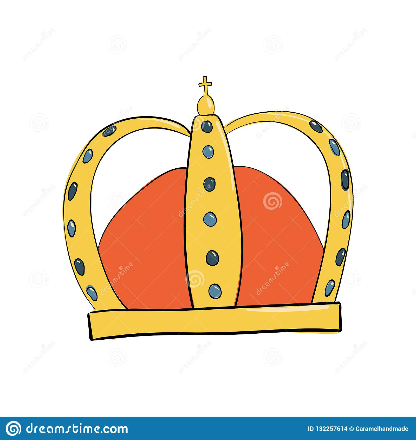 Corona del monarca con las gemas y los diamantes Un símbolo de la autoridad Casco del rey Icono que denota éxito e insignias