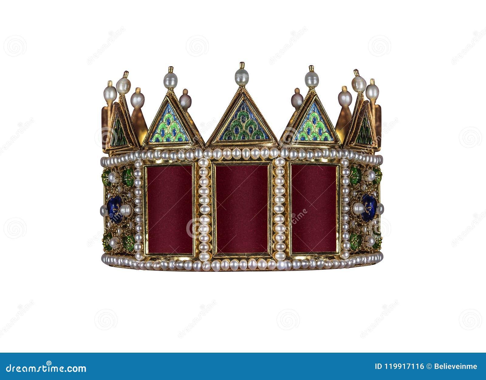 Corona del oro con las joyas aisladas en blanco