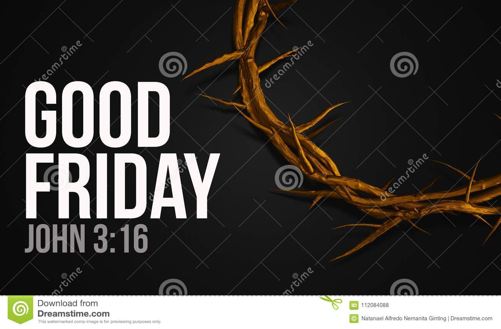 Corona del oro del 3:16 de Juan del Viernes Santo de la representación de las espinas 3D