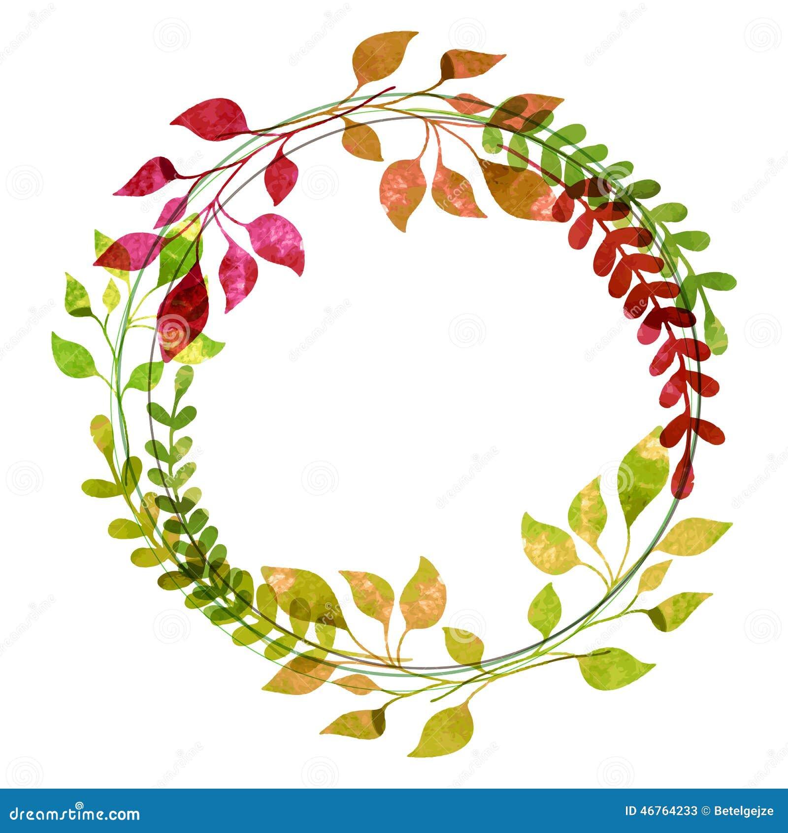 Corona dell acquerello dalle foglie di autunno variopinte Illustrati di vettore