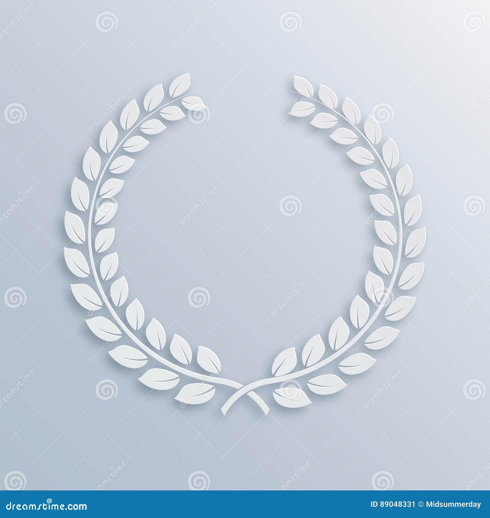 Corona dell alloro Premio per i vincitori Simbolo della vittoria e dei risultati Illustrazione di vettore Elemento bianco di prog