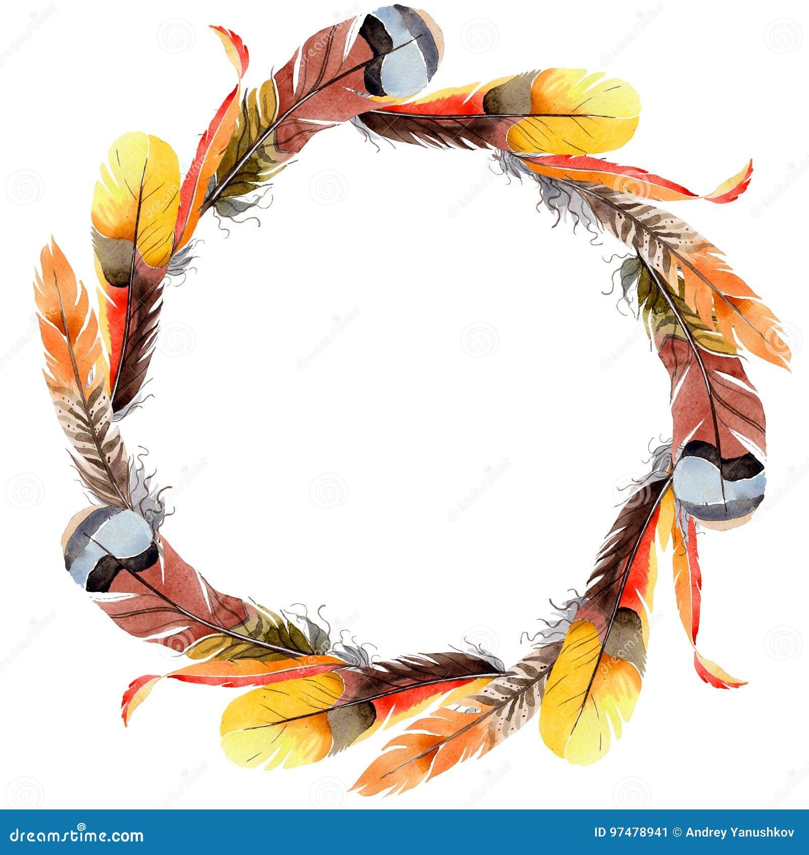 Corona della piuma di uccello dell acquerello dall ala